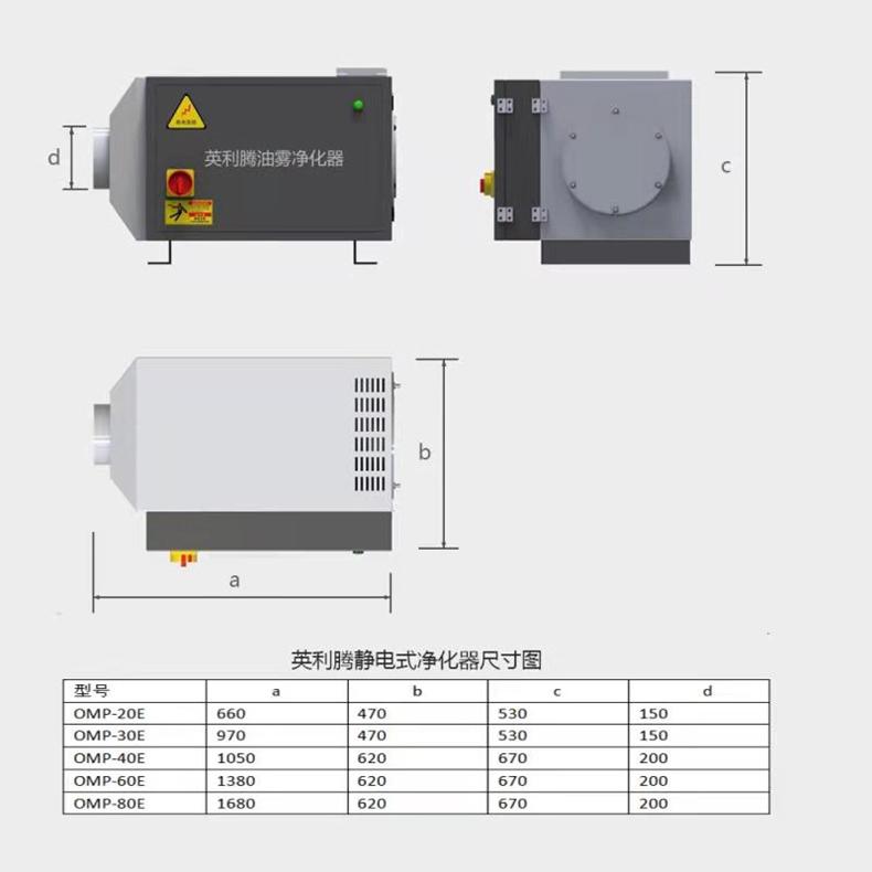 160E油雾收集器的尺寸图